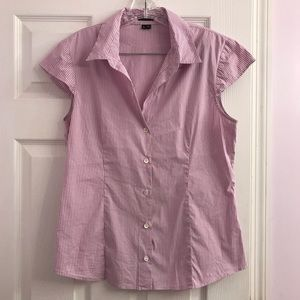 Theory Lavender Striped Button Up Tank Top Size L
